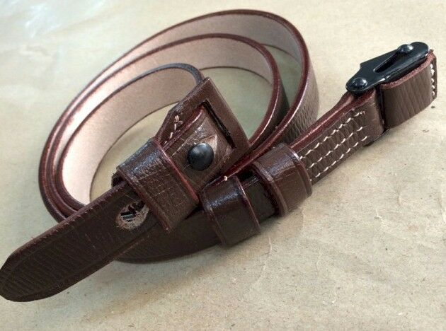 German WWII K98 rifle sling Repro Dark brown leather (G-549)
