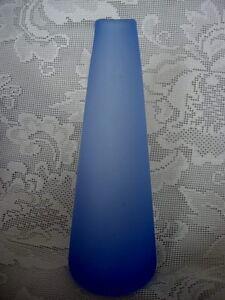 Vintage-Collectible-Lt-Cobalt-Blue-Hand-Blown-Satin-Glass-Bud-Vase-Rough-Pontil
