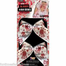 Halloween Zombie Bloody Stained Blood Spattered Hair Bows On Clips Fancy Dress