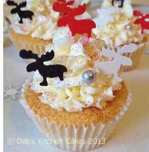 Edible Reindeer Cake Decoration : Christmas Reindeer Cake Decorations - Edible Wafer - Stand ...