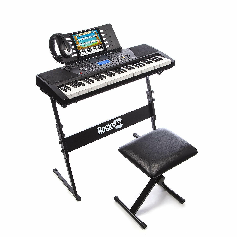 Teclado electrónico superkit piano con soporte taburete auriculares 61 teclas