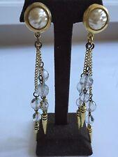 Robert Lee Morris /Donna Karan French Glass Pearl Waterfall Earrings Early1990's