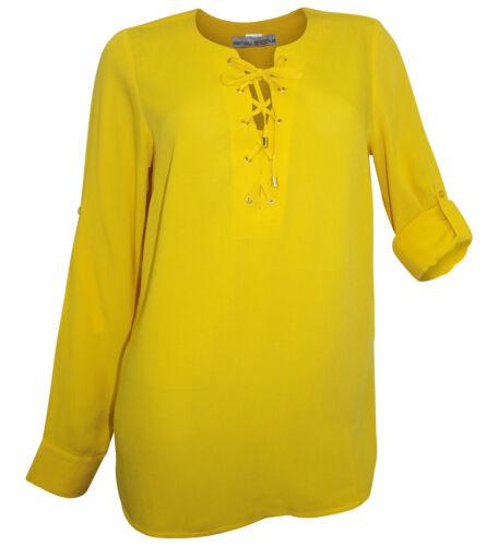 ASHLEY BROOKE Tunika Gr 36 Gr 52 gelb Schnürung Bluse Krempel-Ärmel