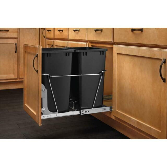 Kitchen Cabinet Pull Out Trash Garbage Can Waste Container Organizer 35  Quart