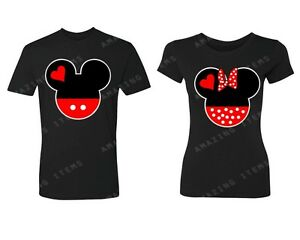 Mickey & Minnie Couple Heads Couple Matching T-shirts Cute couple shirts love
