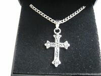 "10 x Silver Plated 18"" Necklaces & Scroll Cross Pendant with Gift Boxes"