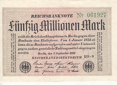 GERMANY 1923 2 Million 2000000 Mark P-104 G//Stars Watermark Block LE UNC *//*