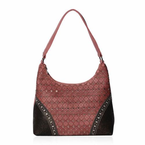 P/&G COLLECTION Vegan Leather and Embellish Hobo Shoulder Bag for Women Ladies