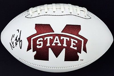 Quality The Cheapest Price Nick Fitzgerald Signed Mississippi State Bulldogs Logo Football W/coa Hailstate Superior In