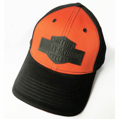 Harley Davidson Mens Long Bar & Shield Baseball Cap Black/Orange Swansea