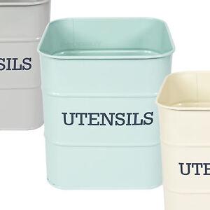 Kitchen-Utensil-Storage-Jar-Vintage-Enamel-Living-Nostalgia-Holder-Pot-Caddy