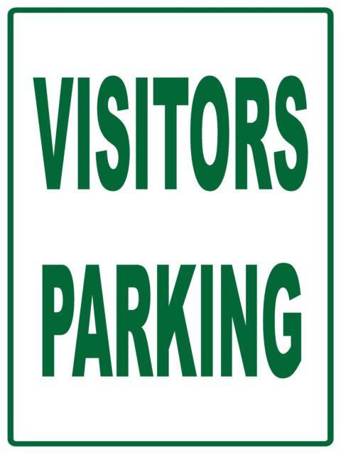 (4 X SIGNS) VISITORS PARKING (NO ARROW) - METAL / ALUMINIUM SIGN - 300 X 200MM