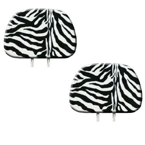 Floor Mats New 2pc White Zebra Tiger Print Headrest Covers Match Seat Covers