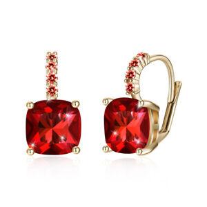 cc986e4d204b71 14k White Gold GF Ruby Dangle Earrings made w Swarovski Crystal Ruby ...