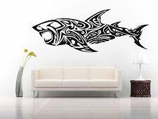 Wall Room Decor Art Vinyl Sticker Mural Decal Fish Tribal Tattoo Shark FI491