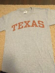 Gray-Texas-T-shirt-Orange-Letters-Size-S-Adult-Chest-36-Short-Sleeves