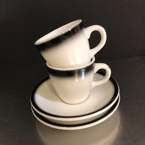 Buffalo-China-Cups-Saucers-Set-2-Black-White-Demitasse-Expresso-Made-USA-VTG