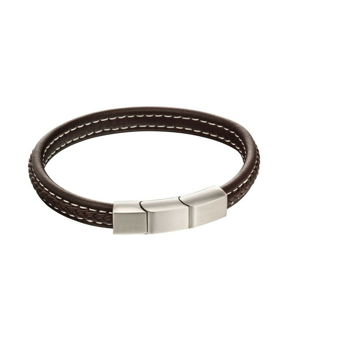 Fred Bennett Plait Mixed Brushed Finish Brown Leather Bracelet B5120