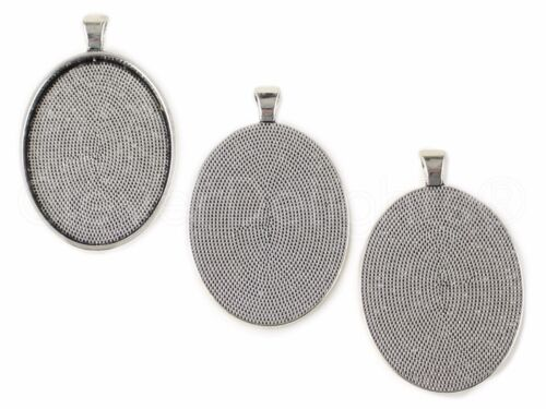 Antique Silver Color Blanks Bezel Setting 30x40mm 10 Oval Pendant Trays
