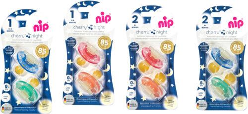 4er Nip Cherry Night Schnuller 0-6//ab 6 Monate Latex Nachleuchtend