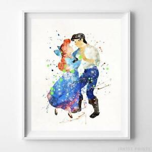 Ariel and Eric The Little Mermaid Wall Art Disney Watercolor Poster UNFRAMED