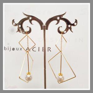 Boucles-d-039-oreilles-IKITA-Bijoux-doree-acier-inoxydable-perle-nacree