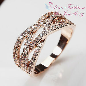 18K-White-amp-Rose-Gold-Plated-Simulated-Diamonds-Studded-Lace-Band-Ring