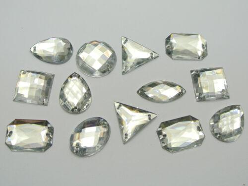 500 Clear Color Flatback Acrylic Sewing Rhinestone Assorted Shape Sew on beads