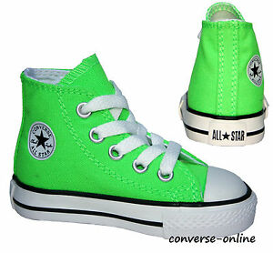 Kids-Boys-Girls-CONVERSE-All-Star-NEON-GREEN-HI-TOP-Trainers-Boots-26-SIZE-UK-10