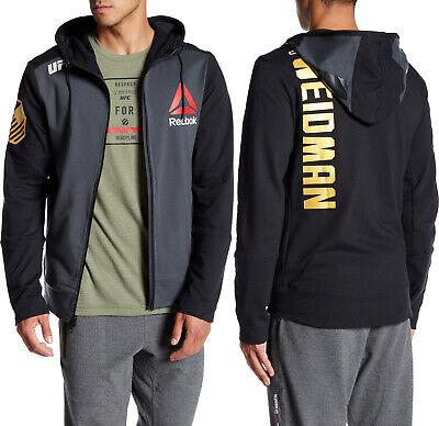 UFC Chris Weidman Walkout Hoodie Reebok Black Full Zip Jacket Size Large  NEW