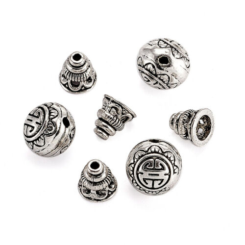 2 Sets Tibétain Argent Guru Bead Prayer Charms 3 Trous Rond Calebasse Bouddha Tête