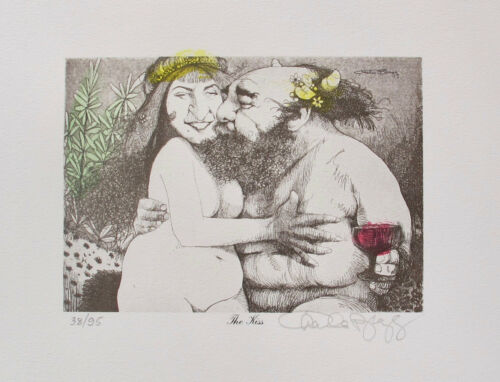 Charles Bragg THE KISS Hand Signed Color Limited Edition Lithograph Art Yr 1976