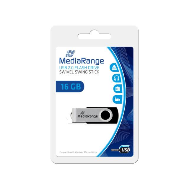 CLE USB PREMIUM 16 GO MediaRange AUTO-PROTEGEE / pliable rotative tournante