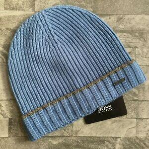 a8c9557e2 Details about HUGO BOSS BLUE FATI BEANIE HAT 100% VIRGIN WOOL BNWT