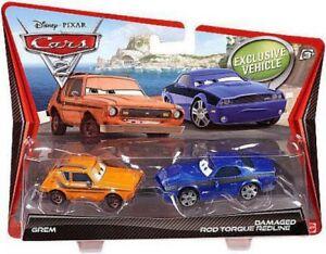 Disney-Cars-Cars-2-Grem-amp-Damaged-Rod-Torque-Redline-Diecast-Car-2-Pack