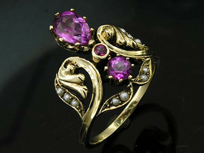 R295 Genuine 9K Yellow gold Natural Rhodolite Pearl Ornate Ring made in yr size