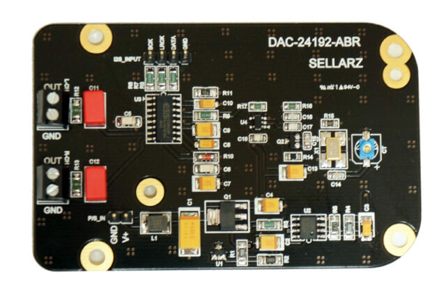 DAC-24192-ABR, I2S Input DAC Ultra Low Noise Regulation, Low Phase Noise Clock