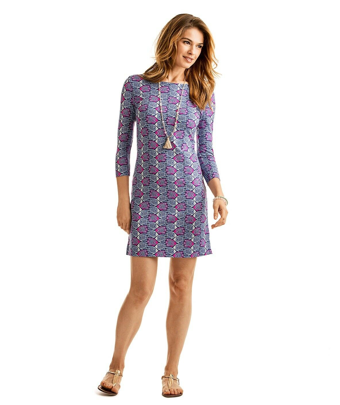 Vineyard vines ANGELFISH Stretchy Nylon Soandex 3 4 Sleeve Dress Sz. Xs
