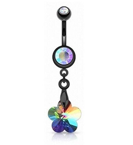 Ombligo joyas conector negro con circonita flor