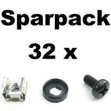 32 Sets Rackschrauben M6x12 + Unterlegscheibe Rand + Käfigmutter für Alu-Schiene