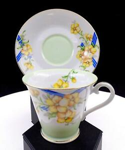 JYOTO-OCCUPIED-JAPAN-JY089-YELLOW-FLOWERS-amp-STRIPES-3-034-CUP-amp-SAUCER-1946-1952