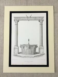 1857-Architectural-Engraving-Print-Water-Well-Column-Pillars-Verona-Renaissance