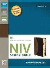 NIV Study Bible Thumb Indexed by Zondervan Staff (2013, Leather, Special)