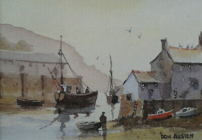 ART PRINT PAINTING CORNISH VILLAGE SCENE HARBOUR GULL BOAT FISHING UK NOFL0748