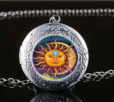 Star Photo Cabochon Glass Tibet Silver Chain Pendant  Necklace Moon Sun