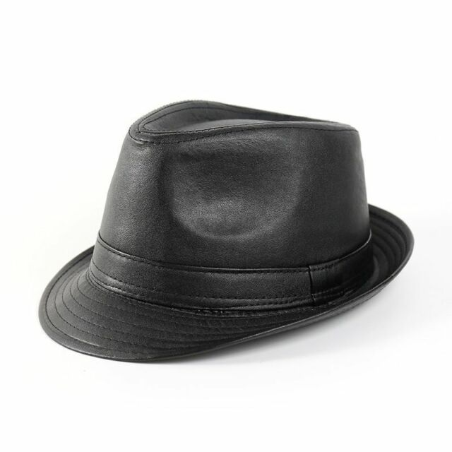 a9bd5353f1e9a5 New Men Trilby Hat Black Faux Leather Fedora Panama Hat Outdoor Sun Cap Jazz