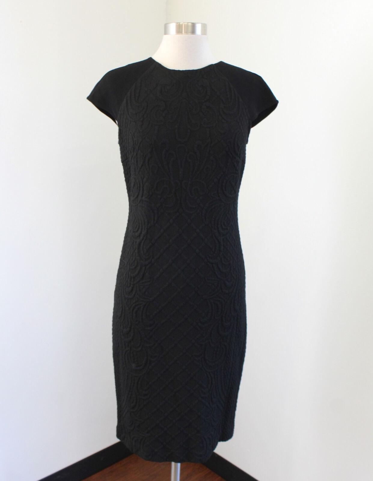 Tory Burch Kiersten schwarz Embossed Quilted Dress Größe S Cap Sleeve Wool