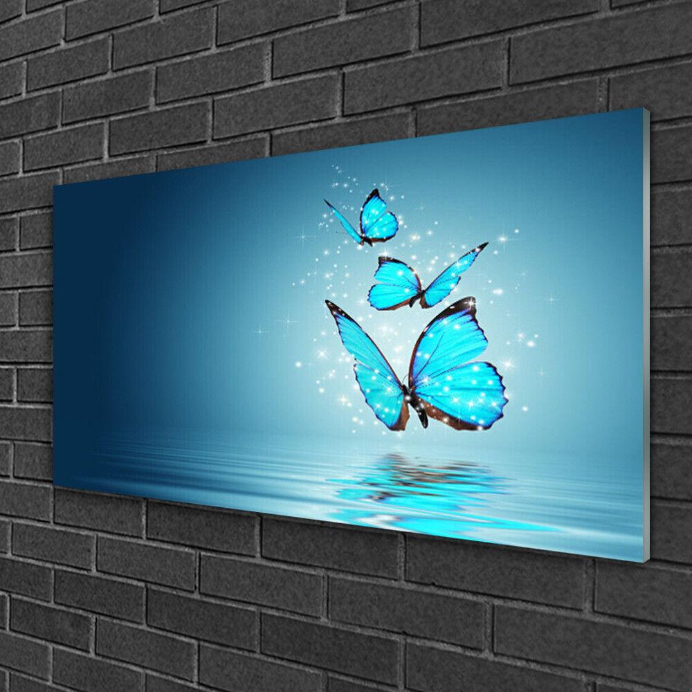 Image sur verre Tableau Impression 100x50 Art Papillons