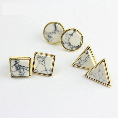 14K Gold Plated Turquoise Geometrical Shape Stud Earrings New EH0270