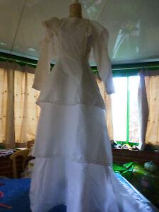 3volants Farben Sind AuffäLlig weiß T B Zustand T1/2 Schön Kleid Verheiratet Vintage
